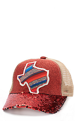 Ashlyn Rose Women's Red & Silver Mermaid Sequin and Serape Texas Patch Cap