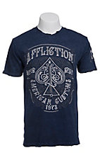 Affliction Men's Navy Spade Logo Short Sleeve Tee