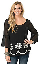 Umgee Women's Black with White Floral Embroidery 3/4 Bell Sleeves Top