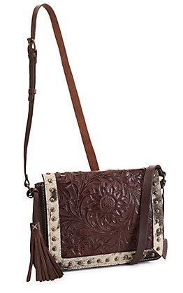 Ariat Women's Alexandria Sunflower Tooled Leather with Hair-On Calfskin Crossbody Bag