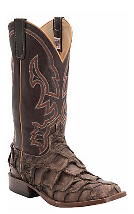 Anderson Bean Men's Brown with Distressed Big Bass Wide Square Toe Western Boot