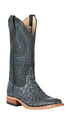 Anderson Bean Men's Black Safari Full Quill Ostrich w/ Black Sinsation Top Western Exotic Wide Square Toe Boots