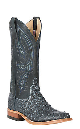 Anderson Bean Men's Black Safari Full Quill Ostrich Wide Square Toe Exotic Western Boots
