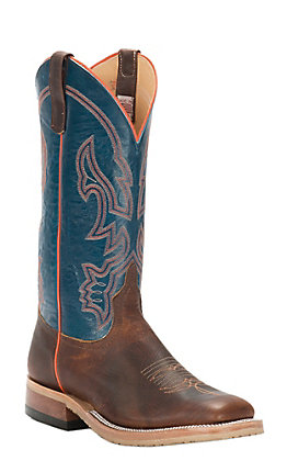 Anderson Bean Men's Briar Brown and Teal Wide Square Toe Western Boot