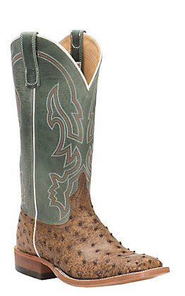 Anderson Bean Men's Terra Vintage Full Quill Ostrich with Sky Fools Kidskin Double Welt Square Toe Western Boots