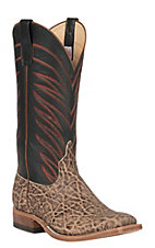 Anderson Bean Men's Terra Vintage Elephant with Black Glaze Kidskin Double Welt Square Toe Exotic Western Boots