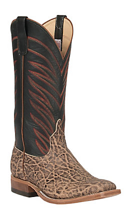 Anderson Bean Men's Terra Vintage Elephant and Black Glaze Kidskin Square Toe Exotic Western Boots