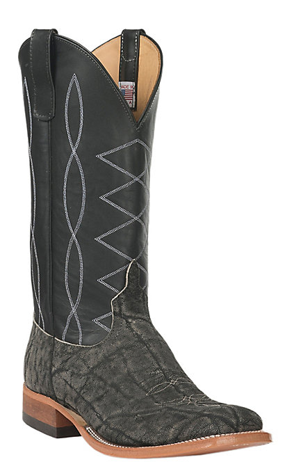 5bc28943cd5 Anderson Bean Men's Granite Safari Elephant with Black Top Double Welt  Square Toe Exotic Western Boots