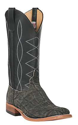 Anderson Bean Men's Granite Safari Elephant and Black Square Toe Exotic Western Boots