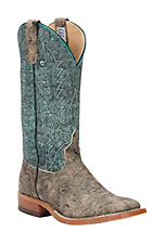 Anderson Bean Mens Saddle Safari Giraffe w/ Aqua Monet Top  Square Toe Western Boot