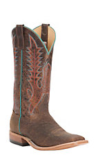 Anderson Bean Mens Tan Boar with Brown Explosion Top Square Toe Western Boot