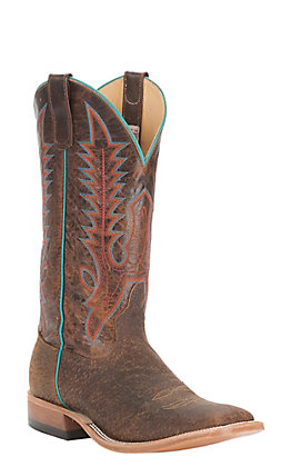 Anderson Bean Men's Tan Boar with Brown Explosion Top Square Toe Western Boot
