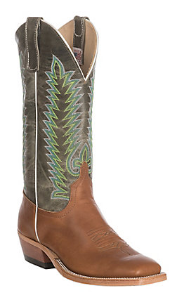 Anderson Bean Men's Chestnut Blackhawk with Grass Explosion Wide Square Toe Western Boots