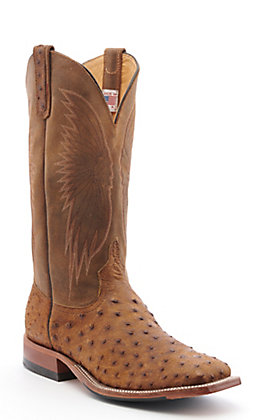 Anderson Bean Men's Tan Full Quill Ostrich with Black Hybrid Sole Square Toe Western Boots