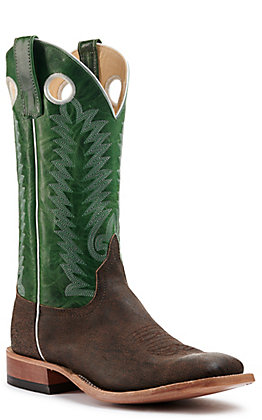 Anderson Bean Men's Brown Buffalo and Jade Bison Wide Square Toe Western Boots