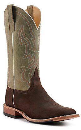 Anderson Bean Men's Brown Kudu and Sky Blue Goat Wide Square Toe Western Boots