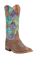 Anderson Bean Mens Tan Whitetail w/ Acid Wash Patchwork Square Toe Western Boot