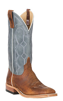 Anderson Bean Men's Saddle Elk Butt Brown and Ocean Blue Wide Square Toe Western Boot - Cavender's Exclusive