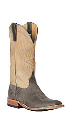 Anderson Bean Men's Cavender's Exclusive Charcoal Boar with Tan Sinsation Western Wide Square Toe Boots