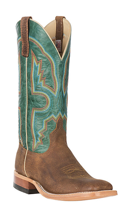 882ee0b9f3f Anderson Bean Cavender's Exclusive Men's Tag Boar & Turquoise Explosion  Wide Western Square Toe Boots
