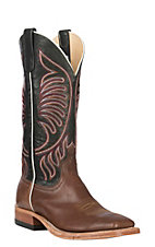 Anderson Bean Men's Cavender's Exclusive Brown Mustang Vamp w/ Black Mustang Upper Western Wide Square Toe Boots