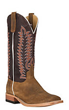 Anderson Bean Men's Cavender's Exclusive Sahara Suede w/ Burgundy Boar Western Wide Square Toe Boots