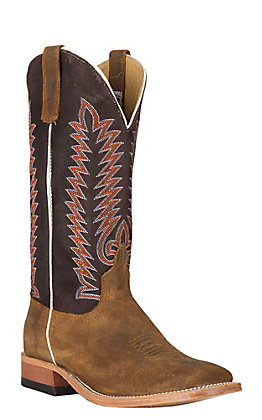 Anderson Bean Men's Sahara Suede with Burgundy Boar Western Wide Square Toe Boots