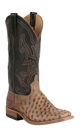 Anderson Bean Men's Rum Brown Full Quill Ostrich with Chocolate Brush Off Double Welt Square Toe Western Boots