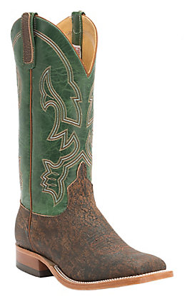 Anderson Bean Men's Rust Safari Giraffe and Emerald Green Square Toe Western Boot