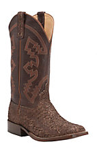 Anderson Bean Men's Chocolate Small Mouth Bass with Chocolate Krash Goat Double Welt Square Toe Western Boots