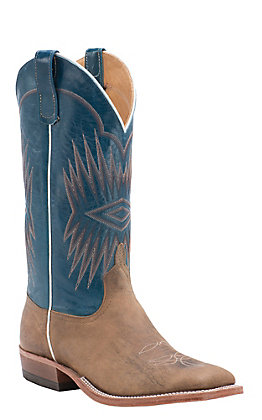 Anderson Bean Men's Coyote Mad Dog Goat with Teal Top Double Welt Square Toe Western Boots