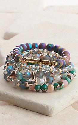 Ashlyn Rose Mermaid Lagoon Blue Beaded Bracelet Set