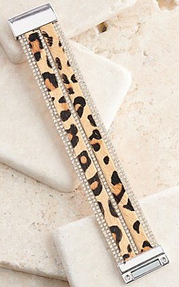 Ashlyn Rose Leopard Print Leather with Crystals Magnetic Clasp Bracelet
