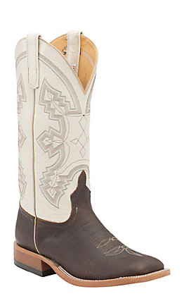 Anderson Bean Men's Chocolate American Bison with Chanel Kidskin Top Double Welt Square Toe Western Boots
