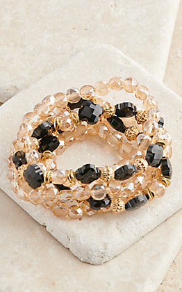 Ashlyn Rose Gold and Black Beaded Stretch Bracelet Set