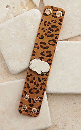 Ashlyn Rose Leopard Hair with White Stone Cuff Bracelet