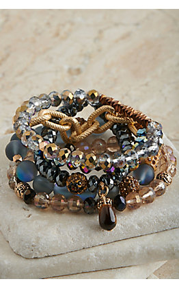 Ashlyn Rose Metallic Blue and Gold Beaded 5 Piece Stretch Bracelets