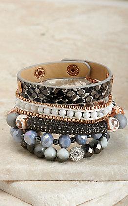 Ashlyn Rose Black, White and Grey 5 Piece Bracelet Set