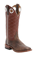 Anderson Bean Horse Power Mens Toast Bison Brown Diamond Stitch Square Toe Boots
