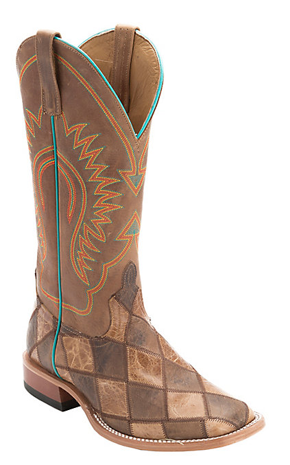 21efebaefb5 Horse Power Men's Brown & Tan Crazy Train Patchwork Square Toe Western Boots
