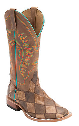 Horse Power Men's Brown & Tan Crazy Train Patchwork Square Toe Western Boots