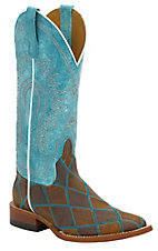 Horse Power Women's Distressed Brown Patchwork w/Blue Top Square Toe Western Boot