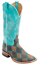 Horse Power Men's Distressed Brown & Chocolate Patchwork Square Toe Western Boot