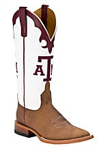 Anderson Bean Ladies Brown w/ White Top & Maroon A&M Square Toe Collegiate Boot