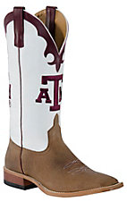 Anderson Bean Mens Toast Brown w/ White Top & Maroon A&M Square Toe Collegiate Boot