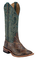 Horse Power Men's Brown Ostrich Print Patchwork w/ Turquoise Top Square Toe Western Boots