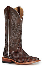 Anderson Bean Horse Power Men's Distressed Brown with Moka Zigzag Patchwork Square Toe Western Boots