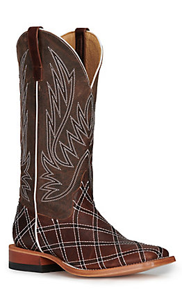 Anderson Bean Men's Horse Power Distressed Brown with Moka Zigzag Patchwork Square Toe Western Boots