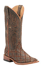 Anderson Bean Horse Power Men's Tan Bombardier with OSU Orange Zig Zag Square Toe Western Boots