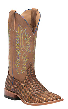 Anderson Bean Men's Horse Power Toast and Honey Woven Square Toe Western Boots